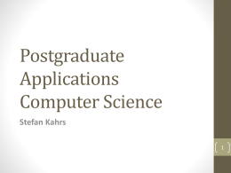 Postgraduate Applications (Computer Science)
