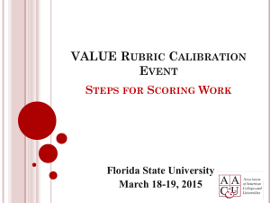 VALUE Rubric Calibration Event - Think FSU