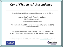 Certificate of Attendence