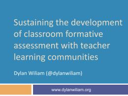 Sustaining classroom formative assessment with TLCs