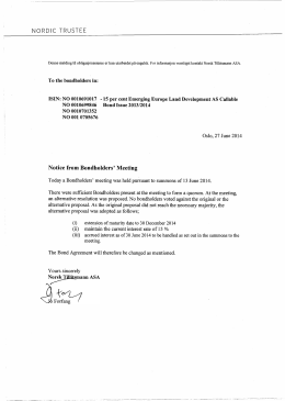 NORDIC TRUSTEE Notice from Bondholders` Meeting