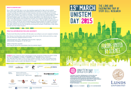 13TH MARCH UNISTEM DAY 2015 EUROPE UNITED BY SCIENCE