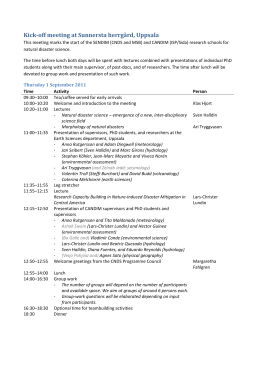 Schedule of the kick-off meeting