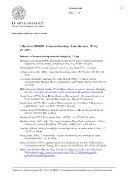 Litteratur GNVK01, Genusvetenskap: Kandidatkurs, 30 hp VT 2015