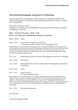 International photography symposium in Gothenburg