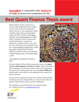 Best Quant Finance Thesis award