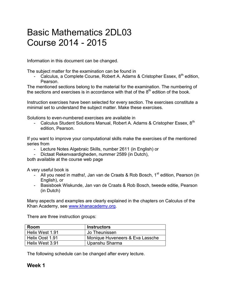 Basic Mathematics 2DL03 Course 2014