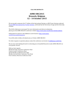 ASME-ORC2015: 1 st Call for Abstracts