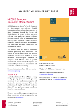 Flyer NECSUS 2015 NL+EN - Amsterdam University Press