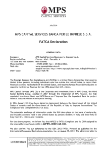 FATCA Declaration MPS CS - MPS Capital Services Banca per le