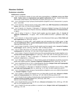 Pubblicazioni - Dipartimento di Matematica e Informatica