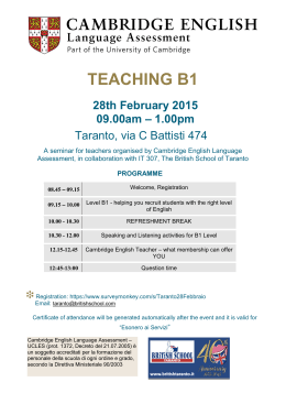 Teaching B1 (IT 307) - Cambridge English Language Assessment