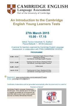 An Introduction to the Cambridge English Young Learners Tests