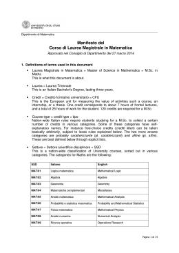 Courses - Università degli Studi di Trento