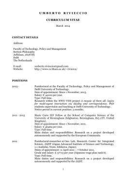 umbertorivieccio curriculum vitae - Applied Logic TUDelft | Delft