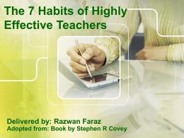 The 7 Habits of Highly Effective Teachers