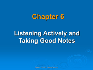 Chap 6 Listening-Notetaking - Community and Technical College