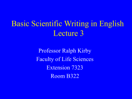 Basic Scientific Writing in English Lecture 3
