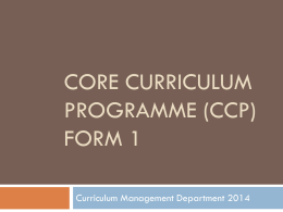 ALP Form 1 CCP Form 3 & Form 4 - Curriculum Management and