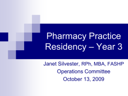 Pharmacy Practice Residency – Year 3