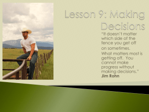 Lesson 9: Making Decisions