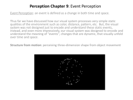 Perception Chapter 9: Event Perception