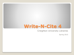 Using Write-N-Cite 4 - Creighton University
