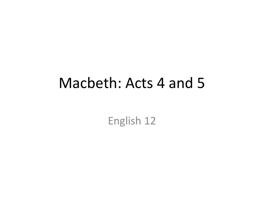 Macbeth acts 4 and 5 robcynllc Images