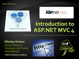 3. Introduction to ASP.NET MVC 4x