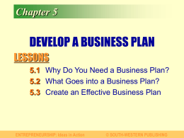 Chapter 5 DEVELOP A BUSINESS PLAN