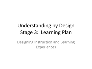 UbD Stage 3x - Region 7 Professional Development Support
