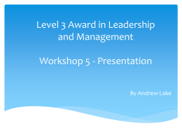 Level 3 Award in Leadership and Management Workshop 5