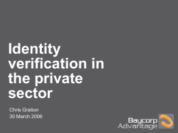 Identity verification in the private sector