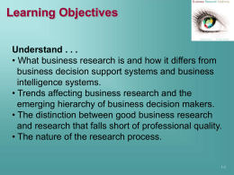 Chapter 1 The Role of Research in Marketing