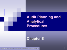 Chapter 8 – Audit Planning and Analytical Procedures