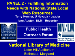 PANEL 2 - Partners in Information Access for the Public Health