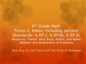 6th Grade Math Focus 2: Rates, including percent Standards: 6.RP.2