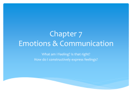 Chapter 7 Emotions & Communication