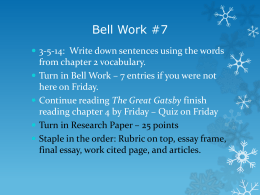 Bell Work #7 March 5-11