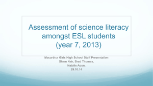 Assessment of science literacy amongst ESL students (year 7, 2013)