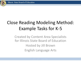 Close Reading: Example Tasks for K-5