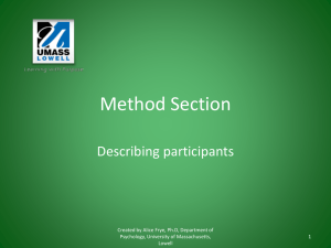 Writing a Method Section - University of Massachusetts Lowell