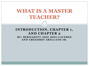 WHAT IS A MASTER TEACHER? - Donna Independent School District