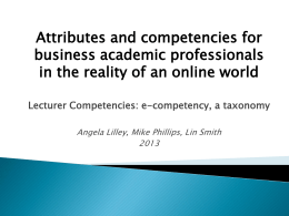 Lecturer Competencies: a new framework