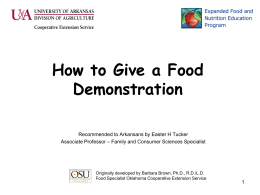 How to Give a Food Demonstration