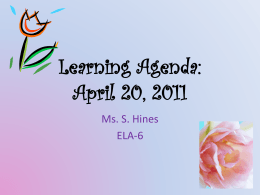 Learning Agenda: April 20, 2011