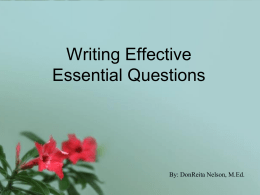 Writing Effective Essential Questions