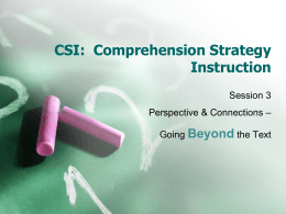 CSI: Comprehension Strategy Instruction