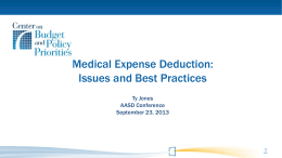 2013 AASD Medical Expense Deduction
