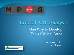 How to Develop Top 3 Critical Paths using Driving Path